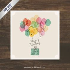 Watercolor birthday gift with balloons - Birthday Presents Bday Cards, Happy Birthday Cards, Diy Birthday, Birthday Presents, Free Birthday Card, Happy Birthday Card Design, Birthday Design, Birthday Quotes, Watercolor Birthday Cards