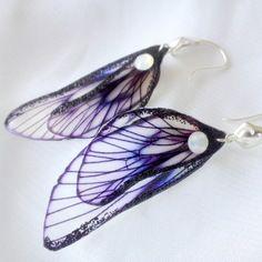 Boucles d'oreille ailes de fée support plaqué argent