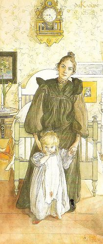 "Carl Larsson ~ I have always loved Karin's expression in this one. ""Are you done yet, husband?"""