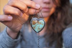 Have Heart Necklace  Kingman Turquoise  by ClementineAndSageCo