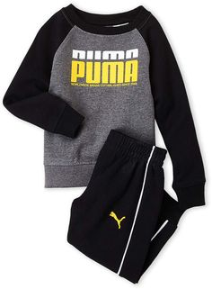 Puma Toddler Boys) Two-Piece Logo Pullover & Sweatpants Set Young Boys Fashion, Teen Fashion Outfits, Baby Girl Fashion, Kids Fashion, Cute Boy Outfits, Toddler Boy Outfits, Toddler Boys, Kids Outfits, Mens Clothing Brands