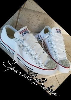 77a8b63868e3 Bling   Pearl Chuck Taylor All Star Converse Wedding Bridal Shoes Bling  Converse