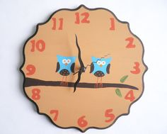 Two owls on a branch kids clock. hand painted. Etsy Shop:Shellyka
