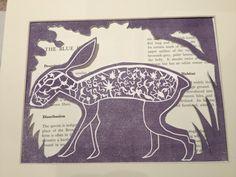 Purple Hare Lino Prints, Winter White, Hare, Habitats, Purple, Artwork, Work Of Art, Auguste Rodin Artwork, Bunny