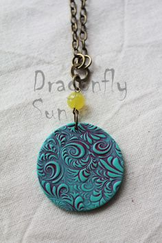 Textured Distressed Polymer Clay Pendant £12.00