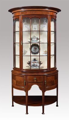 Mahogany Sheraton Revival Bowed Display Cabinet - Antiques Atlas
