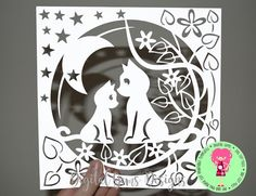 Mother and Child Cat Papercut Template SVG / DXF Cutting File For Cricut / Silhouette & PDF Cut Your Own Printable, Download, Commercial Use