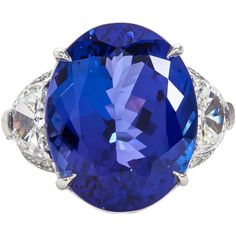 Pre-owned Rare 13 Carat Royal Blue Tanzanite Diamond Platinum Ring ($33,000) ❤ liked on Polyvore