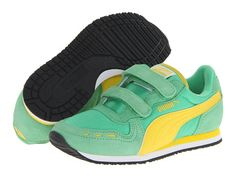 Puma Kids Cabana Racer Mesh V (Toddler/Little Kid/Big Kid) Island Green/Vibrant Yellow - Zappos.com Free Shipping BOTH Ways