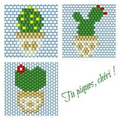 Mon prochain projet piquant concerne les créations de @monpetitbazar (motif déjà posté auparavant), @lili_azalee (motif du bas) et @lapetiteepicerie (motifs du haut), revues à ma sauce  #cactus #cactaceae #cactees #jenfiledesperlesetjassume #perles #beads #brickstitch #miyuki #miyukibeads #beadtool4