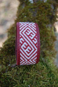 Beaded Leather Cuff Bracelet with Latvian by BeadAndLeatherStudio