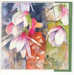 Magnolias (watercolour) by Shirley Trevena Abstract Watercolor, Watercolor And Ink, Watercolor Flowers, Watercolor Paintings, Watercolors, Art Floral, Shirley Trevena, Leaf Art, Botanical Illustration
