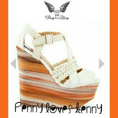 REDUCED!! Penny loves Kenny Reduced from $55  NWOT - Penny loves Kenny Dunn white multi wedge Sandler. Sold out, get it now! Never been worn! Penny loves Kenny Shoes