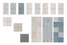 Tratti, Inspirada por Inga Sempé para la firma Mutina, es una colección completa disponible en tamaño 10×10 cm. Está compuesta por tres colores base neutros, 8 patrones individuales y 3 patrones lisos que pueden combinarse libremente para crear composiciones infinitas. Tanto en interior como en exterior.