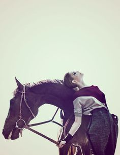Ready to Ride – Dimphy Janse plays a prized horse jockey in equestrian inspired fashions for Signe Vilstrup's (Tomorrow Management) latest work in Tush #26. Outfitted by Wiebke Bredehorst, Dimphy takes to the race track in colorful ensembles which feature a large dosage of leather and sleek silhouettes.