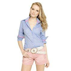 Camisa Social Feminina Ana Hickmann Ah0419 Azul | Loja Ana Hickmann.