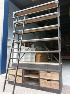 NEW FRENCH INDUSTRIAL VINTAGE RECYCLED BOOKCASE  LADDER  Made from recycled hard wood timber and heavy duty cast iron frame  Rustic vintage look Intricate ..., 1035138770