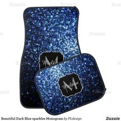 Beautiful Dark Blue sparkles Monogram Car Mat Set by #PLdesign #BlueSparkles #SparklesGift