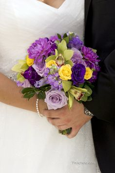 Purple and Yellow dazzle this brides# bouquet!  #purpleflowers www.twaphoto.com