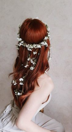 # small Braids crown Flower wreath, whimsical white floral crown, wedding head piece, medieval circlet - Isolde - wedding hair accessory by gardens of whimsy Box Braids Hairstyles, Braided Crown Hairstyles, Down Hairstyles, Wedding Hairstyles, Updo Hairstyle, Redhead Hairstyles, Braided Updo, Red Hair Updo, Flower Hairstyles