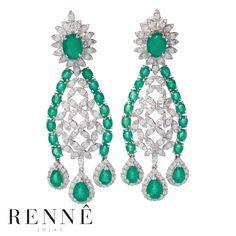 Brincos de Esmeraldas em Ouro 18k e diamantes. Rennê Joias