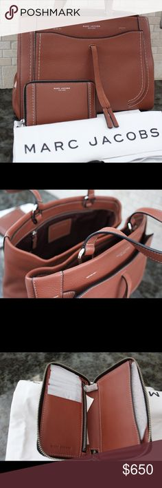 Marc Jacobs Maverick leather tote and wallet DESCRIPTION of bag The Marc Jacobs Maverick Leather Tote Bag is a new bag for the season with bohemian flare. The tote has lots of functionality including multiple pockets to hold your essentials. Soft handles and a suede tassel are details you'll love. Top handle Exterior slip pocket 2 Interior compartments separated by another zip compartment Interior zip pocket on the back wall Interior slip pocket on the front wall Hardware: Nickel or Antique…