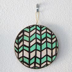 """Herringbone Circle Ornament""  by #katnawlins on #etsy, $7.50 - #ornament #holidays #art #hand-drawn #geometric #herringbone #green #white #christmas"