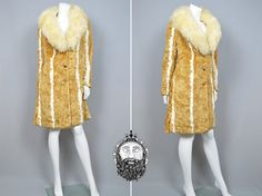 Vintage 70s Glamour Faux Fur Coat Womens Winter by ZeusVintage