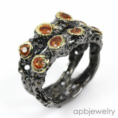 Fine Art Natural Orange Sapphire 925 Sterling Silver Ring Size 6.75/R35970 #APBJewelry #Ring