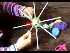Mandala Ojos De Dios tutorial part 1 - YouTube Handmade Crafts, Diy And Crafts, Crafts For Kids, God's Eye Craft, Intro To Art, Dream Catcher Art, Native American Patterns, Gods Eye, Flower Embroidery Designs
