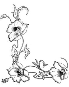 Crewel Embroidery, Cross Stitch Embroidery, Embroidery Patterns, Folk Art Flowers, Flower Art, Coloring Books, Coloring Pages, Free Adult Coloring, Poppy Pattern