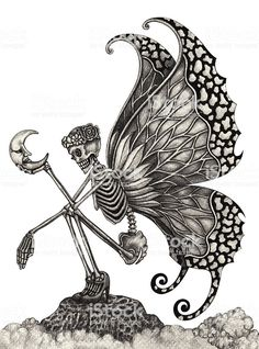 Picture of Skull art fairy surreal. Hand pencil Drawing on paper. stock photo, images and stock photography. Skeleton Drawings, Fairy Drawings, Art Drawings Sketches, Tattoo Drawings, Skull Drawings, Skeleton Love, Skeleton Art, Hand Pencil Drawing, Pencil Drawings