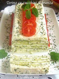 Terina cu zucchini si branza este un apetitiv leger si usor. E o reteta pregatita in modul cel mai simplu posibil din ingrediente accesibile. Picnic Finger Foods, Romanian Food, Romanian Recipes, Wrap Sandwiches, Zucchini, Cake Recipes, Good Food, Food And Drink, Appetizers