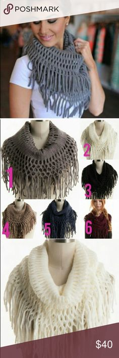 """Submit Offer 🎀 Multiple Color Options 🎀NOT VS PINK ONLY PUT THAT FOR ADVERTISING 🎀 Fishnet Fringe Infinity Scarf 14""""x 49"""" 100% Acrylic  Multiple Colors Available   ⭐️ Please comment below with the color you would like and I will create a listing for you ⭐️  • White (2 left) • Black (2 left) • Taupe (2 left)  • Maroon (2 left)  • Blue (2 left)  • Gray (2 left) PINK Victoria's Secret Accessories Scarves & Wraps"""