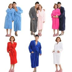1450afd1db Women Men s Long Sleepwear Robes Shawl Collar Coral Fleece Bathrobe Spa  Pajamas  Bathrobe  Collar