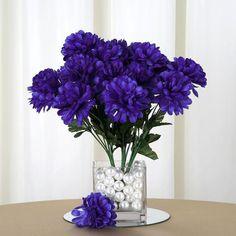 12 Bush 84 pcs Purple Artificial Silk Chrysanthemum Flowers Centerpiece Decorations, Flower Decorations, Wedding Decorations, Types Of Flowers, Silk Flowers, Carnations, Chrysanthemums, Artificial Flowers And Plants, Anniversary Decorations