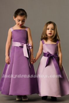 FOUR SHADES OF PURPLE AVAILABLE!!!  A-Line/Princess Satin Flower Girl Dress With Sashes/Ribbons And Sleeveless (MW521A)