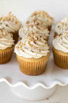 Maple Pecan Cupcakes with Maple Cream Cheese Frosting are made with a maple vanilla cupcake topped with maple cream cheese frosting and crunchy pecans! Enjoy this tasty cupcake any time of the year.
