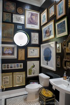 A powder room is just a rather more fancy way of referring to a bathroom or toilet room. Just like in the case of a regular bathroom, the powder room may present different challenges related to its interior design and… Continue Reading → Interior, Decorating Small Spaces, House Interior, Black Walls, Rental Bathroom, Bathroom Art, Bathroom Decor, Black Bathroom, Bathroom Inspiration