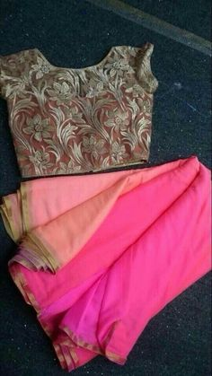 Multi color saree with designer blouse