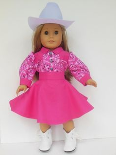 """Western Red Star 4 pc Cowgirl Skirt Set for American Girl 18/"""" Doll Clothes"""