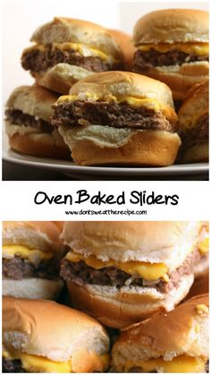 Oven Baked Sliders -These taste just like Krystal's or White Castle hamburgers. Super easy to make! Oven Baked Sliders -These taste just like Krystal's or White Castle hamburgers. Super easy to make! Mini Hamburger Sliders, Pork Sliders, Cheeseburger Sliders, Baked Sandwiches, Slider Sandwiches, Sandwich Recipes, Grilling Recipes, Beef Recipes, Cooking Recipes