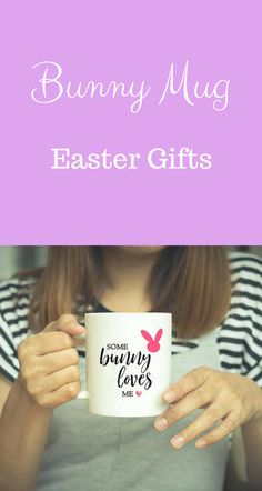 Personalised happy easter mug purple custom name mug with bunny cute easter bunny coffee mug easter gift my daughter loves to drink tea and hot negle Images