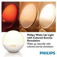 Philips Wake-Up Light Therapy Alarm Clock with Colored Sunrise Simulation and Sunset Fading Night Light, White