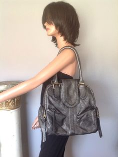 Decree Hobo Bag Purse Charcoal Pearlish Designer Fashion Hip Multi Pockets  #Decree #Hobo