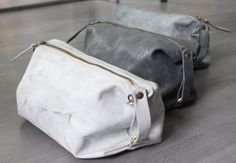 Stone Washed Leather Toiletry Bag / Groomsman by LadyBirdesign