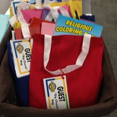 """Here's a great mission project idea for older kids to make for younger kids and guests that come to """"Big Church."""" #KidMin #MrMarksClassroom Mission Projects, Activity Bags, Paper Basket, Ministry, Coloring Books, Card Stock, Preschool, Lunch Box, Classroom"""
