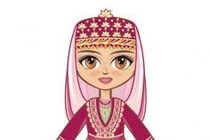 Doll in Azerbaijani National Dress (Graphic) by zoyali · Creative Fabrica Illustrations, Graphic Illustration, Back Art, Beautiful Fantasy Art, Scene Creator, Love Mom, Line Design, Journal Cards, Historical Clothing