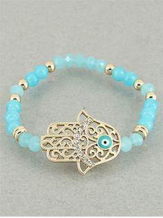Large Hamsa Aqua Bead Bracelet