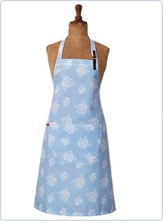 Hetty, pale blue floral apron with leather strap http://www.cherryonthepie.com/product.php?artid=113=17 € 29,95
